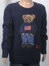 Ralph Lauren Navy Blue Cotton Crew Neck Childrens Teddy Bear Sweater NWT