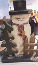 """Snowman 10 """" wooden Shelf Christmas Decor with picket fence"""