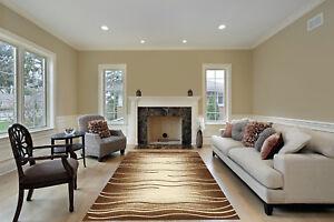 Modern Contemporary Decorative Floor Rug Brown Lines Carpet Area Rug 5x7