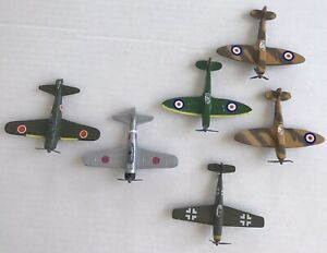 Lot of 6 Diecast WWII Airplanes Spitfire, Zero, Messerschmitt
