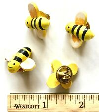 Bee/Honeybee Lapel Pin/Pins Tie Tack Back! Lot of Four Hand-Painted Wooden Honey