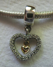"""PANDORA TWO TONE 14K/925 """"FOREVER IN MY HEART"""" CLEAR CZ CHARM RETIRED 791421CZ"""