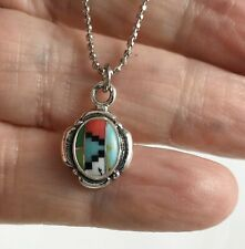 Zuni Inlaid Inlay 925 Sterling Silver Pendant with Ball Chain Necklace