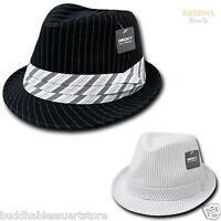 NEW STYLISH DECKY PINSTRIPE PIN STRIPE FEDORA FEDORAS HAT CAP HATS BLACK WHITE
