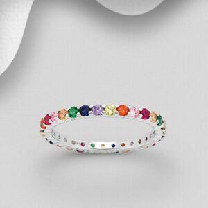 925 Sterling Silver CZ Rainbow Cubic Zirconia 2MM Band Eternity Ring Women Girls
