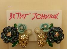 Betsey Johnson skull and roses clip earrings in goldtone