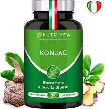 KONJAC 640 mg 95% Glucomannano Detox Blocca Fame Fibre Perdita Peso 90 Capsule