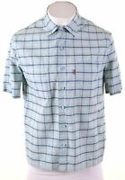 LEVI'S Mens Shirt Short Sleeve Medium Blue Check Cotton  JV02