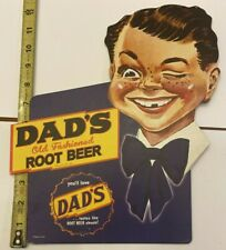 """NOS """"Dad's Old Fashioned Root Beer"""" advertising Die Cut sign 1950's-60's"""