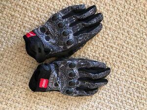 Icon mens Large 9 black Grey leather short motorcycle gloves skulls SUB GLOVE