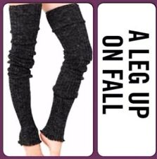 THIGH HIGH Long LEG WARMERS Over Knee CHARCOAL GRAY Warm Thick Cable Knit 39""