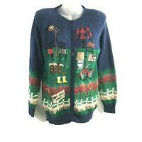Susan Bristol Womens Yard Sale Sweater Vintage Small Green Blue Fall Christmas