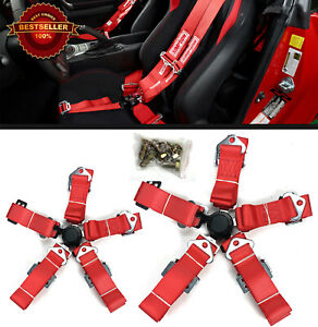 2 x 5-Point Cam Lock Quick Release Red Nylon Harness Seat Belt For Nissan...