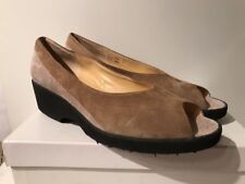 BRUNATE TAN & NATURAL SUEDE LEATHER LOW WEDGE HEELS PEEP TOE SHOES 40.5 10 NEW