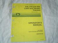 John Deere 316 318 420 lawn and garden tractor original operator's manual