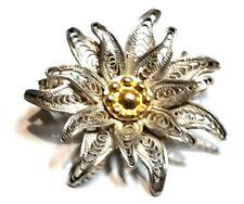 Brosche Silber 800 Filigran Edelweiss
