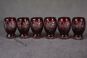 """Crystal glass Vodka shots set of 6 from Poland """"handmade"""" Color RED"""