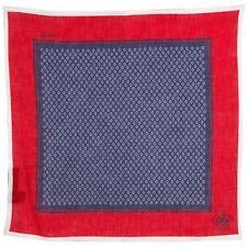 Corneliani hombre 100% lino azul y rojo bolsillo cuadrado pañuelo de regalo para él
