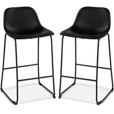2PC Set Black PU Leather Bar Pub Stool Kitchen Dining Chair Metal Legs Mid Back