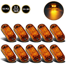 """10x Amber LED 2.5"""" 2 Diode Light Oval Clearance Trailer Truck Side Marker Lamp"""