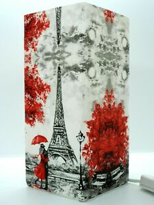 Frosted Glass Paris Love Eiffel Table Lamp Handmade Gift Decoupage Home Decor