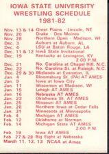 1981-82 Iowa State Wrestling Schedule jhxb