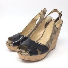 Coach Womens Shoes Heels Sling Back Buckle Open Toe Brown Size 6.5 B