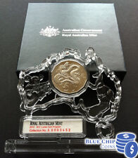 2012 UNC RAM 50C LUNAR YEAR DRAGON COIN IN PERSPEX STAND