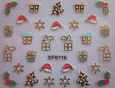 Christmas 3D Nail Art Stickers Decals Gold Snowflakes Presents Holly (XF6116)