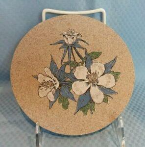 "Stoneware Magnolia Round Trivet with Cork Backing Approximately 5.75"" Diameter"
