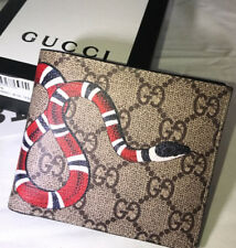 8b2fe7618a21 Gucci Bifold Wallet Supreme KingSnake GG Leather Wallet Beige with Box