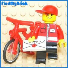 M110 Lego Mail Carrier Minifigure with Red Bicycle Bike & Envelope NEW