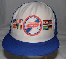 Vintage Rocky With Lots of Country Flags Snapback Hat Cap Deadstock