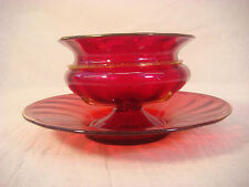 VENETIAN GLASS FRUIT BOWL SAUCER RED GOLD ANTIQUE GLASS FOOTED HAND BLOWN