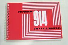 1970 Porsche 914 Owners Manual Service factory reprint maintenance parts