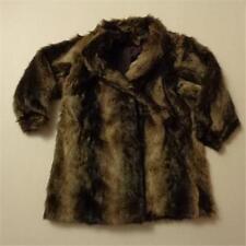 Vintage Hillmoor New York Brown Faux Fur Coat Jacket See Measurements Approx L