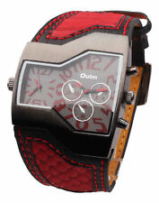 Men's Military 2 Dials Multi Timezones Sports Leather Analog Wrist Watch OULM006
