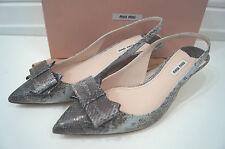 MIU MIU Snakeskin Bow Detail Slingback Kitten Heel Sandals Shoes EU40.5  - New!