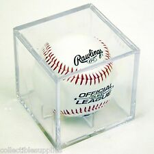 4 Square Baseball Display Case Cube Holders w/ Cradle
