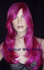 Calypso Wig ... Purple, Coral Pink, Dark Brown!   SUPER NICE!  *