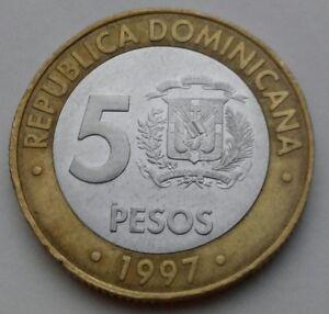 Dominicana Republic 5 Pesos 1997 . Bimetallic coin.