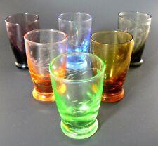SET OF 6 MULTICLOR MULTI COLOR ETCHED GLASS SHOT GLASSES 1 (E10)