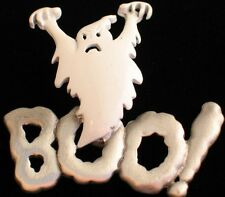 JJ PEWTER WHITE TONE HAPPY HALLOWEEN FLYING BOO SCARY GHOST PIN BROOCH JEWELRY 2