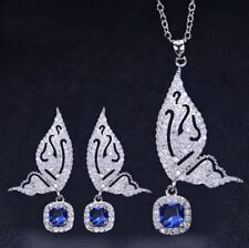 Special Butterfly Jewelry Sets Fire Blue Topaz Citrine Silver Necklaces Earrings