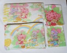 Vintage 1980 Strawberry Shortcake Twin Sheet Set flat fitted and 2 pillowcases