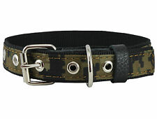 "Camouflage Cotton Web Nylon Padded Dog Collar 13""-17""  neck for Medium Dogs"
