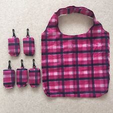 Eco Foldable Shopping Bag Reusable Shopper Water-resistant, Medium, Checked,Pink