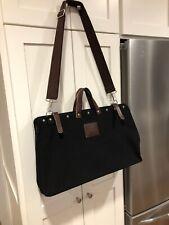 Black Canvas & Leather Travel Work Bag Tote Adjustable Removable Strap