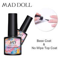2 Bottles 8ml MAD DOLL Base Coat No Wipe Top Coat Gel Polish Nail UV Gel Varnish