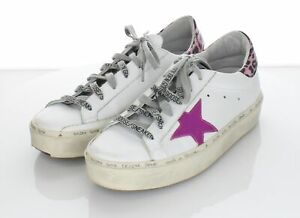 H43 $560 Women's Sz 37 M Golden Goose Hi Star Leather Lace Up Sneakers